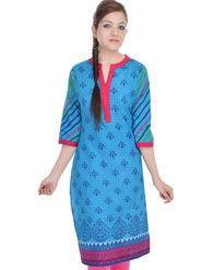 Shop Rajasthan 100% Pure Cotton Printed Kurti - Light Blue - SRE2315