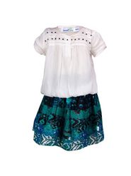 ShopperTree 100% VISCOSE Plain Girls Skirt Set - White