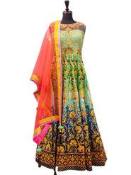 Thankar Embroidered & Printed Satin Semi Stitched Anarkali Suit -Tas363-1103W