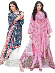Combo Of 2 Thankar Printed Unstitched Dress Material - thk-04