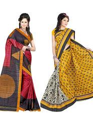 Pack of 2 Thankar Printed Bhagalpuri Saree -Tds137-191.192