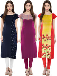 Combo of 3 Trend Factory Printed Crepe Multicolor Kurti -ute100