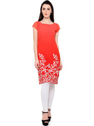 Trend Factory Foil Print Chiffon Red Kurti -ute81