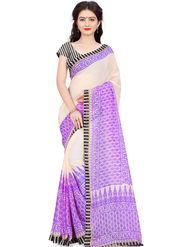 Triveni Printed Art Silk Purple Saree-trv07