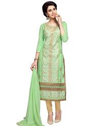 Triveni's Blended Cotton Embroidered Dress Material -TSMDESK1055