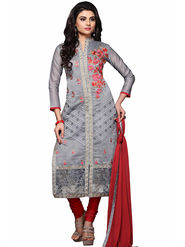 Triveni's Chanderi Cotton Embroidered Dress Material -TSMDESK1101