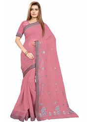 Triveni's Blended Cotton Embroidered Saree -TSMRCCPI4015