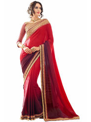 Triveni's  Georgette Jacquard Border Work Saree -TSN87020