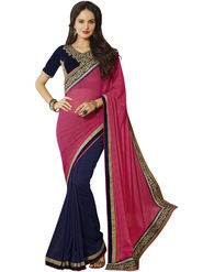 Triveni Border Worked Chiffon & Faux Georgette Blue Sarees -Tssaks2309
