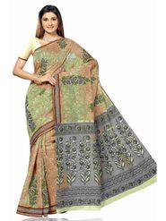 Triveni Sarees Cotton Printed Saree - Beige - Tsmrccan1024