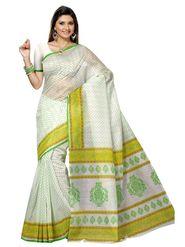 Triveni Sarees Cotton Printed Saree - Off White - Tsmrccan1041