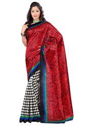 Triveni sarees Art Silk Printed Saree - Red - TSKCMK12812A