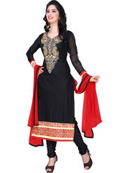Triveni Cotton Embroidered Semistitched Dress Material - Black - TSHCSDRSK9053