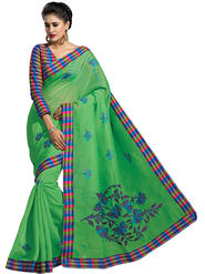 Triveni Blended Cotton Embroidered Saree - Green - Tsmrccrv173