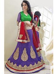 Triveni Jacquard - Net Embroidered Lehenga Choli - Green and Purple -TSN82008