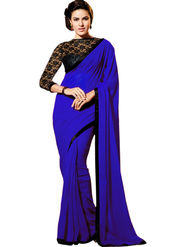 Triveni Chiffon Border Worked Saree - Blue - TSRGSH102B