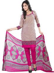 Triveni Blended Cotton Printed Dress Material - Beige - TSSDHSK1304
