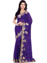 Triveni Faux Georgette Embroidered Saree - Purple - TSSWG532