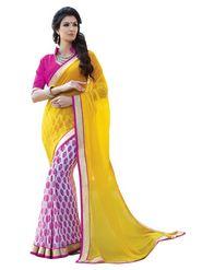 Triveni sarees Faux Georgette Printed Saree - Yellow - TSPP1866