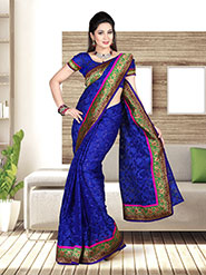 Zoom Fabrics Embroidered Net Saree - Royal Blue