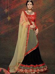 Viva N Diva Net Embroidered Lahenga - Black