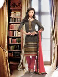 Viva N Diva Banarasi Chanderi Embroidered Dress Material - Grey