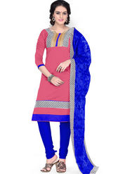 Viva N Diva Chanderi Cotton Embroidered Dress Material - Pink