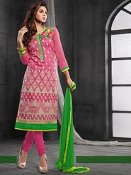 Viva N Diva Chanderi Cotton Embroidered Dress Material - Pink