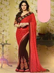 Viva N Diva Brasso Georgette Embroidered Saree - Red & Brown