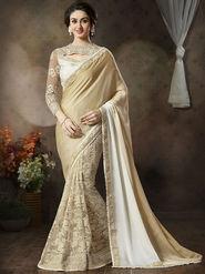 Nanda Silk Mills Latest Soft Net & Satin Georgette Beige Color Saree Exclusive Party Wear Saree_Vr-1902