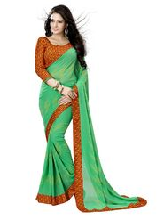 Khushali Fashion Georgette Saree(Green)_YNBJR20377