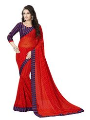 Khushali Fashion Georgette Saree(Red)_YNBJR20378