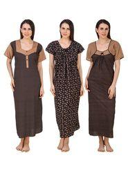 Combo of 3 Fasense Printed Jaipuri Cotton Black Brown Nighties - YTCOM16A1