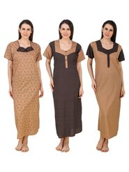 Combo of 3 Fasense Printed Jaipuri Cotton Camel Brown Black Nighties - YTCOM17A1