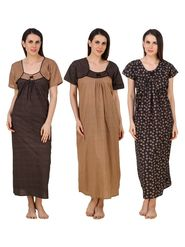 Combo of 3 Fasense Printed Jaipuri Cotton Black & Camel Brown Nighties - YTCOM18A1