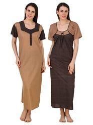 Combo of 2 FasensePrinted Jaipuri Cotton Black & Camel Brown Nighties - YTCOM21A1