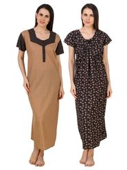 Combo of 2 Fasense Printed Jaipuri Cotton Black & Camel Brown Nighties - YTCOM22A1