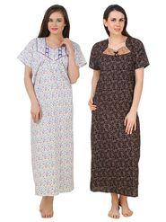 Combo of 2 Fasense Printed Jaipuri Cotton Black Brown & Purple Nighties - YTCOM23A1