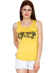Yellow Tree Printed Polyester Yellow  Top -os27