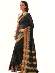 Nanda Silk Mills Plain Cotton Black Saree -Zaynab