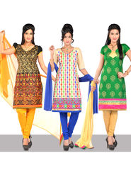 Collection of 3 Designer Embroidered Dress Material by Zuri (3HDM1)