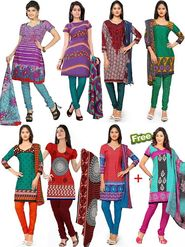 Combo of 7 Florence Printed American Crepe Unstitched Dress Material + 1 Free -SB-3277