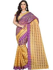 Bhuwal Fashion Plain Cotton Silk Purple & Beige Designer Saree -bhl15