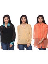 Combo of 3 Lavennder Georgette Hand Blocked Solid Ladies Shirts-la04
