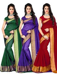 Combo of 3 Bhuwal Fashion Plain Polycotton Designer Saree -bhl21