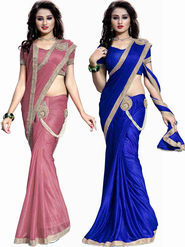Combo of 2 Bhuwal Fashion Plain Lycra Designer Saree -bhl23