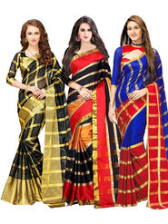 Pack of 3 Bhuwal Fashion Plain Tussar Silk Multicolor Saree -Combo255