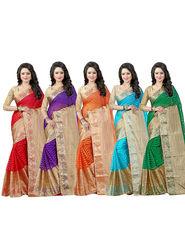 Bhuwal Fashion Plain Cotton Silk Multicolor Saree -Combo267
