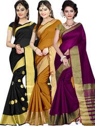 Combo of 3 Zoom Fabric Cotton Silk Plain Sarees_Zmf02