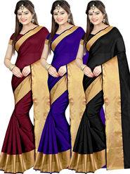 Combo of 3 Zoom Fabric Cotton Silk Plain Sarees_Zmf06